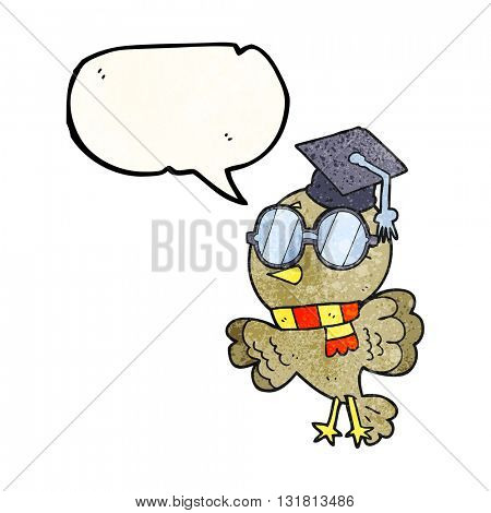cute freehand drawn texture speech bubble cartoon well educated bird