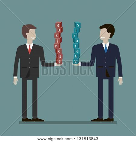 Two successful businessman. Business strategy plannin concept. Vector flat style illustration.