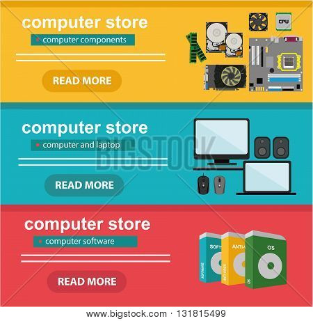 Flat design concept of computer store, sale of computers, laptops, components: motherboard, RAM, cooler, hard disk, cpu, video card and software and accessories