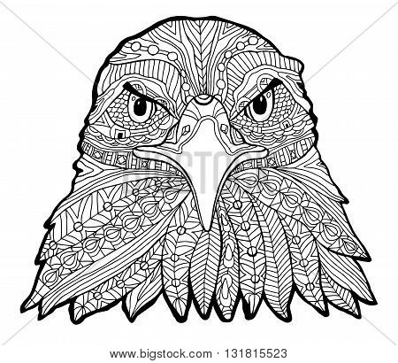 The black and white eagle print with ethnic patterns. Coloring book for adults antistress. Art therapy, zenart, meditaion. The image on the fabric, tattoo, vector