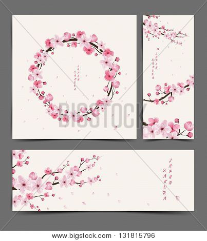cherry blossom realistic vector cherry blossom Illustration cherry blossom Layout cherry blossom card cherry blossom template sakura japan