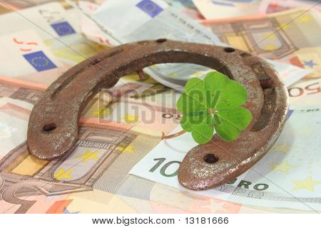 Horseshoe With Clover And Euro