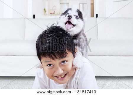 Photo of happy little boy playing with siberian husky puppy in the living room at home