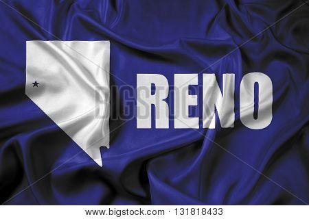 Waving Flag of Reno Nevada, with beautiful satin background