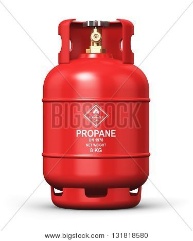 3D render illustration of red metal steel liquefied compressed natural propane gas LNG or LPG container or cylinder with high pressure valve isolated on white background