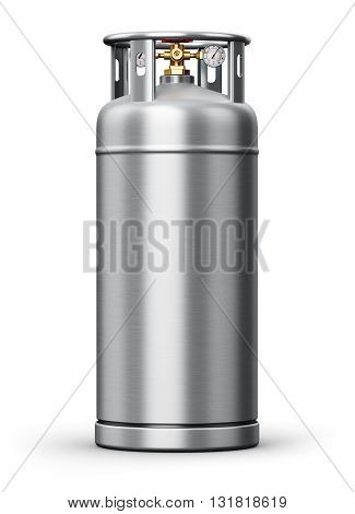 3D render of metal steel container or cylinder for liquefied compressed natural oxygen, nitrogen or other gas for scientific tests and industrial use with high pressure gauge meter and valve isolated on white background