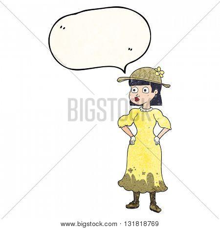 freehand speech bubble textured cartoon woman in sensible dress
