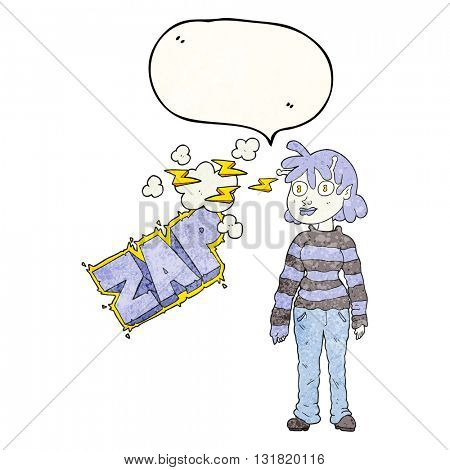freehand speech bubble textured cartoon casual alien girl using telepathy