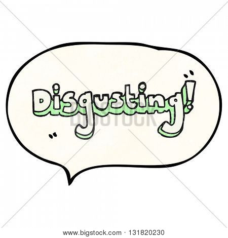 disgusting freehand speech bubble textured cartoon