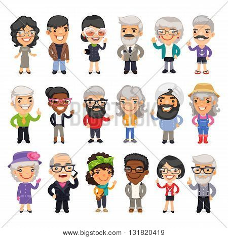 Set of casually dressed flat cartoon old people. Isolated on white background. Clipping paths included.