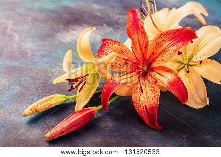 Orange and yellow lilly flowers on vintage blue background. Space for text