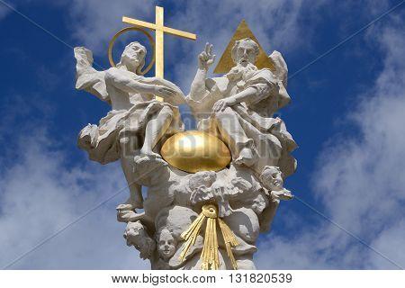 Closeup of a Holy Trinity Column a religious symbol