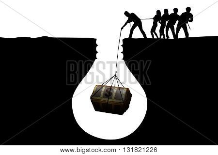 Silhouette of optimistic businesspeople finding a treasure chest in the soil isolated on white background