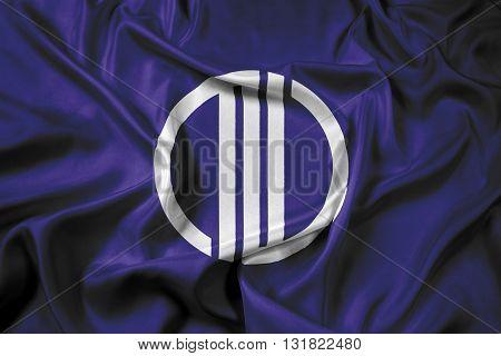 Waving Flag of Sendai Japan, with beautiful satin background
