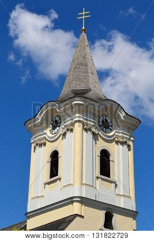 Detail of the church tower in Podersdorf Burgenland - Austria