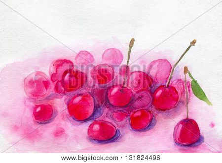 Cherry mousse with fresh cherries. Hand painted watercolor illustration and paper texture
