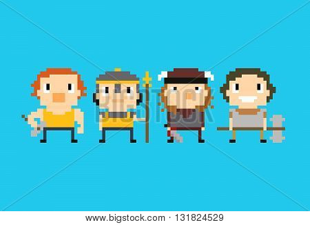 Four warriors pixel art characters with different weapons