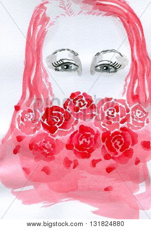 Portrait of a girl with red hair and red roses, isolated on white background. Hand painted watercolor illustration and paper texture