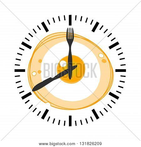 Vector illustration depicts a clock on the background of fried eggs