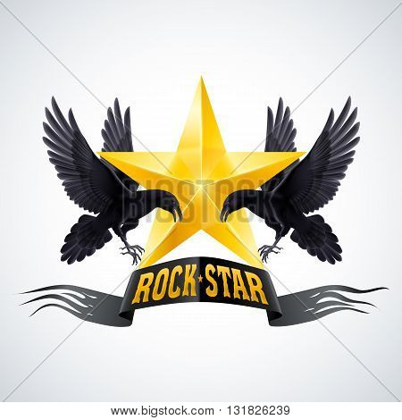 Rock Star banner in golden color with two ravens
