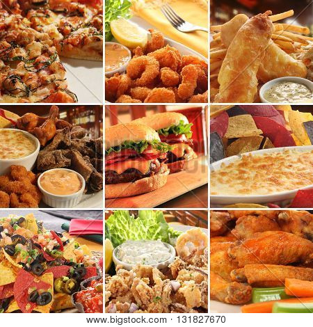 Collage of pub food including cheese burgers wings nachos fries pizza ribs deep fried prawns and calamari.