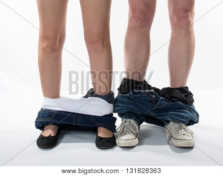 Man And Woman Who Undresses Have An Affair Isolated