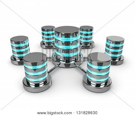 Connected 3D Databases Isolated On White Background