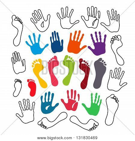 Vector illustration outlined & colored generation hand and foot prints isolated on white background. Created in Adobe Illustrator. EPS 8.