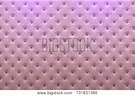 Buttoned pink leather wall with vignetting on padding background