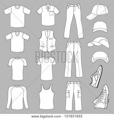 Outlined menswear headgear & shoes season collection vector illustration isolated on grey background
