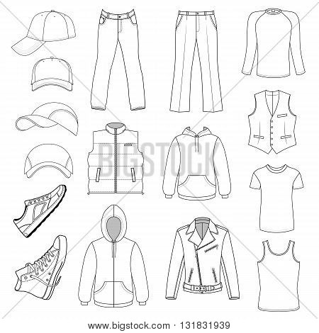 Outlined menswear headgear & shoes season collection vector illustration isolated on white background