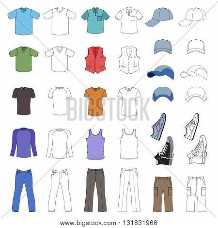 Outlined & colored menswear headgear & shoes season collection vector illustration isolated on white background