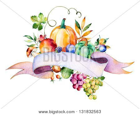 Colorful autumn bouquet with fall leaves, branches, berry, blackberry, mushroom, pumpkins, walnut, grapes vine, prunes, pomegranante, ribbon for your text and more