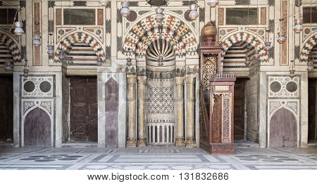 Cairo, Egypt - September 1, 2012:  Interior Facade of Sultan Barquq Mosque a historic mosque located in Al Moez Street Cairo Egypt