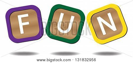Kids blocks spelling fun isolated on a white background