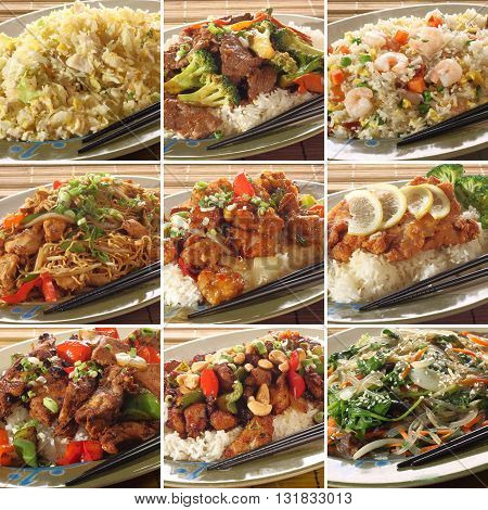 Collection of asian food dishes. Including sweet and sour chicken beef and broccoli chicken chow mein Kung Pao chicken and more.