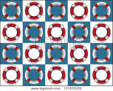 A life rings on blue and white coloured squares background