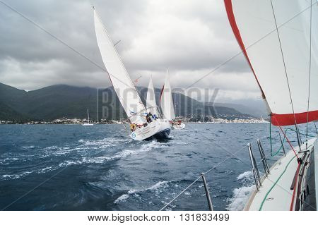 Tivat, Montenegro - 28 April, Yacht Regatta under a cloudy sky, 28 April, 2016 Regatta