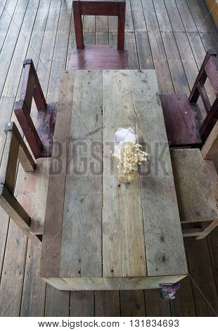 Classic old wooden furniture top view stock photo