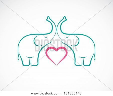 Vector image of elephant and heart on white background Elephant Icon Logo Elephant Design.