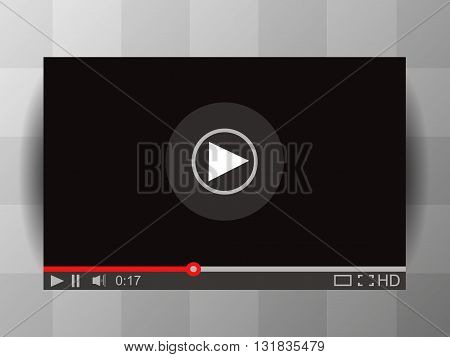 Media Player Interface. Vector Video Player Illustration. Player MockUp