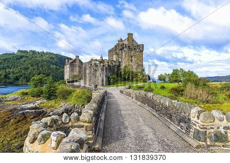 Eilean Donan Island, United Kingdom - August 20, 2014: The Eilean Donan castle in Scotland. This castle, frequently appears in film and television, was founded in the thirteenth century.