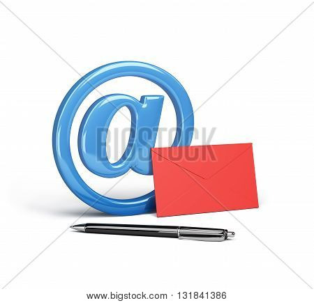 Envelope pen and electronic mail sign. 3d image. White background.