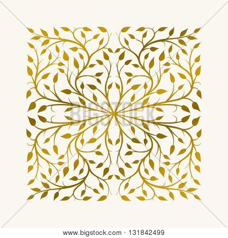 Vector hand drawn frame. Border is made with seamless pattern with leaves.