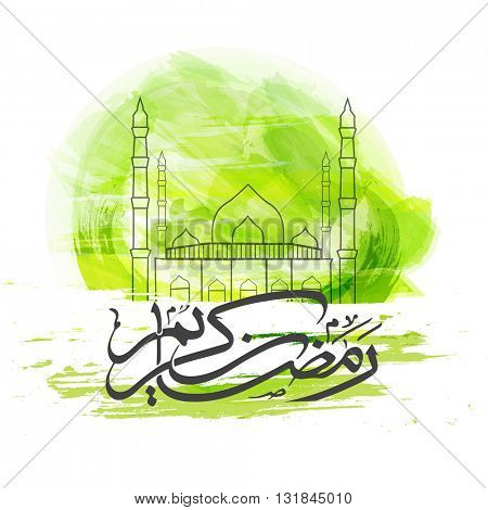 Creative line art illustration of a Mosque with Arabic Islamic Calligraphy of text Ramadan Kareem on abstract green background.