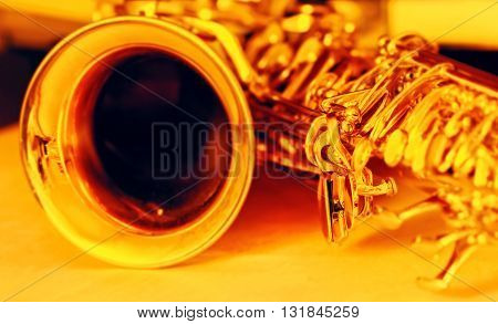 Detail of gold saxophone romantic musician instrument