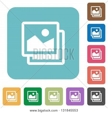 Flat pictures icons on rounded square color backgrounds.