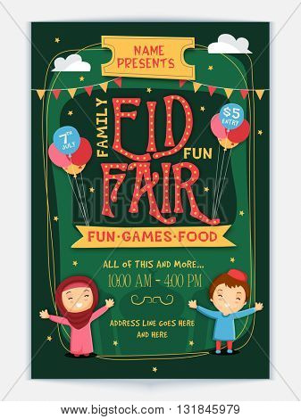 Styish Eid Fair Flyer, Eid Celebration Banner, Invitation Card with cute Islamic kids.