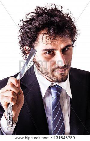 Crazy Cut Throat Businessman
