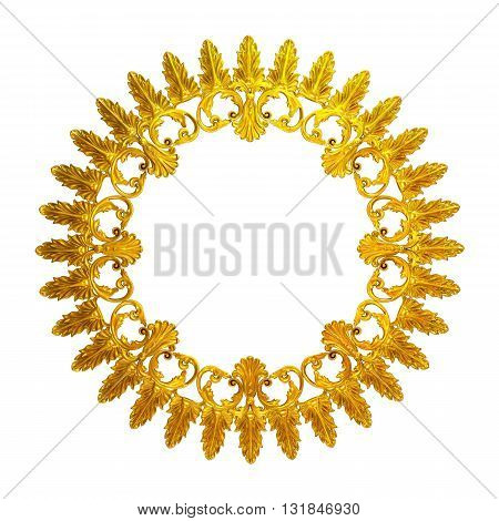 3d illustration of a wreath of gold leaves and flowers
